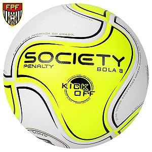 Bola Futebol Penalty 8 S11 R1 Kick Off 6 Society - Amarelo Fluorescente e Branco