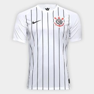 Camisa Corinthians I 19/20 s/nº Torcedor Nike Masculina - Branco e Preto