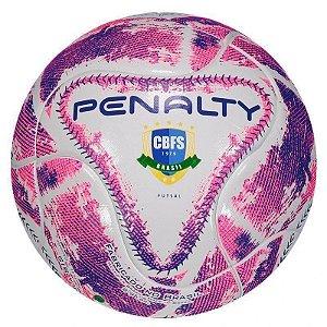 Bola de Futsal Penalty Max 500 Term lX Futsal Branca e Rosa