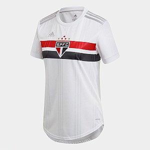 Camisa São Paulo I 20/21 s/n° Torcedor Adidas Feminina - Branco e Vermelho