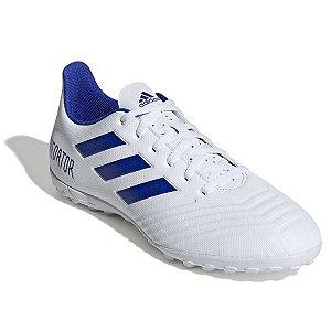 Chuteira Society Adidas Predator 19 4 TF - Branco e Azul D97971