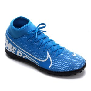 Chuteira Society Nike Mercurial Superfly 7 Club TF - Azul e Branco