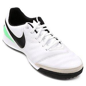 Chuteira Society Nike Tiempo Genio 2 Leather TF - Branco e Verde 819216-103