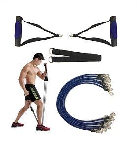 Kit Extensor Elástico Exercício Fitness Pilates