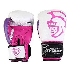 Luva Boxe/Muay Thai Pretorian Elite - Branco e Rosa