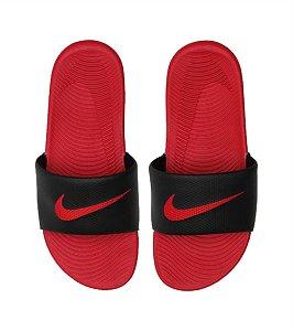 Chinelo Slide Nike Sportswear Kawa Slide Preto e Vermelho