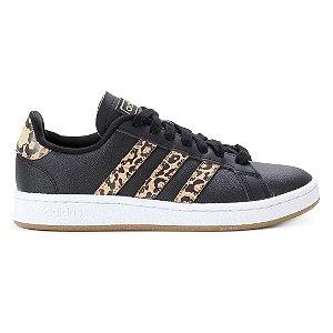 Tênis Adidas Grand Court Leopard Feminino - Preto+Branco
