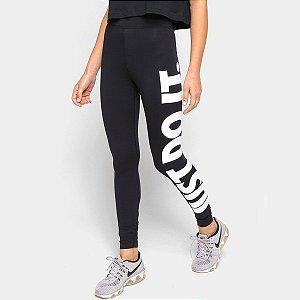 Calça Legging Nike Essential Jdi Hr Feminina - Preto+Branco