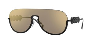 Versace VE2215  Matte Black Lentes Light Brown Mirror Gold