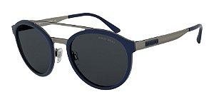 Giorgio Armani AR6077 Matte Gunmetal/Blue Rubber Lentes Grey
