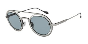 Giorgio Armani AR6085 Brushed Grey/Matte Silver Lentes Blue