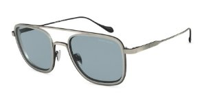Giorgio Armani AR6086 Brushed Grey/Matte Silver Lentes Blue