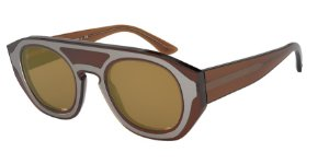 Giorgio Armani AR8135 Transparent Brown Lentes Brown Mirror Gold