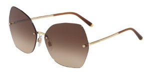 Dolce & Gabbana DG2204 Gold Lentes Brown Gradient