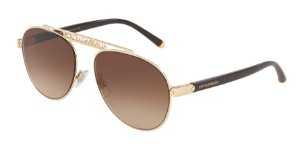 Dolce & Gabbana DG2235 Gold Lentes Brown Gradient