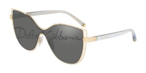 Dolce & Gabbana DG2236 Gold Lentes Dark Grey Tampo Corsivo
