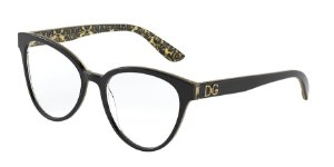 Dolce & Gabbana DG3320 Black On Damasco Glitter Black