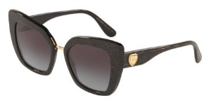Dolce & Gabbana DG4359 Glitter Gold Striped Black Lentes Grey Gradient