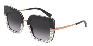 Dolce & Gabbana DG4373 Top Black On Print Rose/Black Lentes Grey Gradient