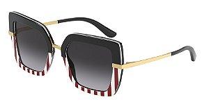 Dolce & Gabbana DG4373 Black/Print Stripes Lentes Grey Gradient