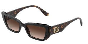 Dolce & Gabbana DG4382 Top Black On Havana Lentes Brown Sfumata