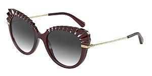 Dolce & Gabbana DG6135 Transparent Dark Red Lentes Grey Gradient