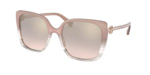 Bvlgari BV8225B Transparent Pink Striped Lentes Light Brown Mirror Grad Gold
