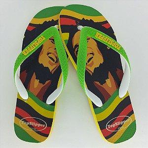 Chinelo Estampado Bob Marley Tira Bicolor