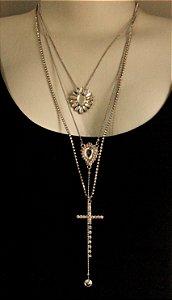 Mix de colares prata com pedra transparente