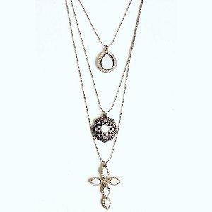 Mix de colares prata envelhecido com pedra branca