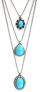 Mix de colares prata envelhecido com pedra azul turqueza