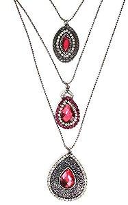 Mix de colares prata envelhecido com pedra pink e strass rosa