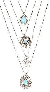 Mix de colares prata com pedra aquamarine e mão grega