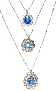 Mix de colares prata com pedra azul clara