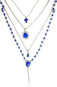 Mix de colares prata com pedra azul bic