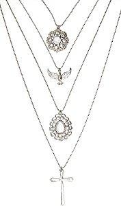Mix de colares prata com pedra branca e divino