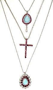 Mix de colares prata com pedra aquamarine e strass rosa