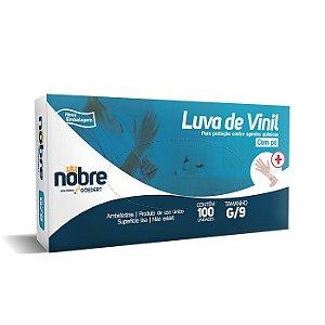 Luva de vinil - Com Pó - para proteção contra agentes químicos - Caixa com 100un - Nobre *LIMITE DE 10 CAIXAS POR PEDIDO