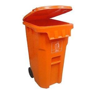 Coletora Plástica 240L. com rodas - Laranja - Nobre