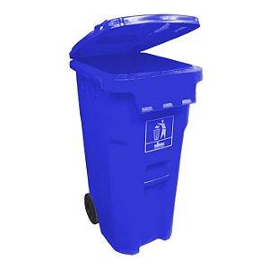 Coletora Plástica 240L. com rodas - Azul - Nobre