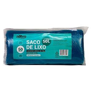 Saco Plástico para Lixo - 50L - Com 50 unid - Cor Azul - Nobre