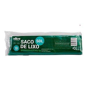 Saco Plástico para Lixo - Biodegradável - 50L - Com 10 unid. - Cor Verde - Nobre