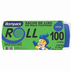 Saco Plástico para Lixo - 100L - Com 25unid. - Cor Azul - Bompack