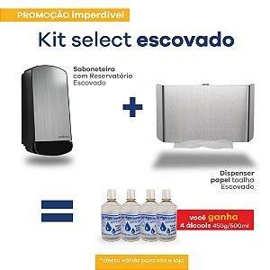 Kit Dispenser Papel Toalha e Saboneteira - Frente em Inox Escovado - Linha Select - Nobre
