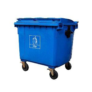 Coletora plástica sem pedal 660L - Azul - Nobre