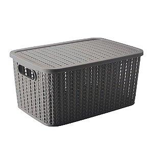 Caixa Trama - com tampa - 8L - Cinza - Plasútil