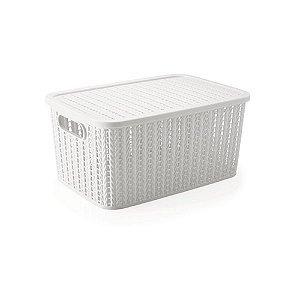 Caixa Trama - com tampa - 8L - Branco - Plasútil