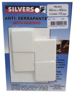 Anti-derrapante para Piso Quadrado Auto-adesivo 4x4cm Silver's Branco