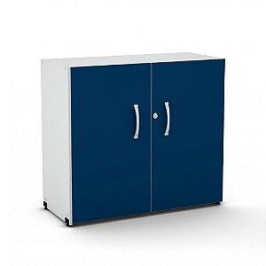 Armario Baixo 2 Portas Maxxi Pandin Azul e Cinza 70 Cm