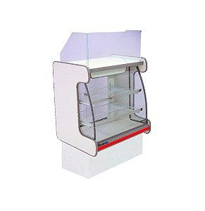 Balcao Caixa Vidro Semi Curvo Pop Luxo Polofrio Branco e Vermelho 80 Cm